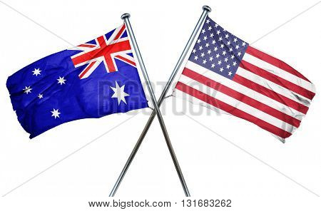 Australia flag with american flag, isolated on white background
