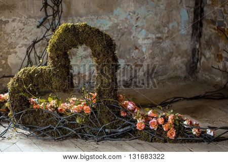 Floral Decoration Of Roses And Twigs