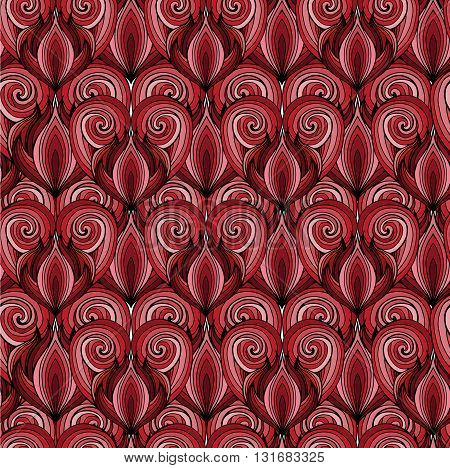 Seamless texture with red doodle hearts with the hair pattern. Vector background for greeting cards invitations cards and your design.