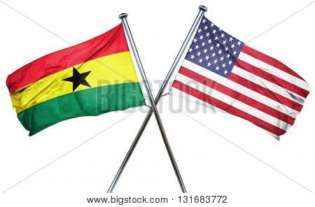 Ghana flag with american flag, isolated on white background