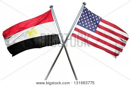 Egypt flag with american flag, isolated on white background