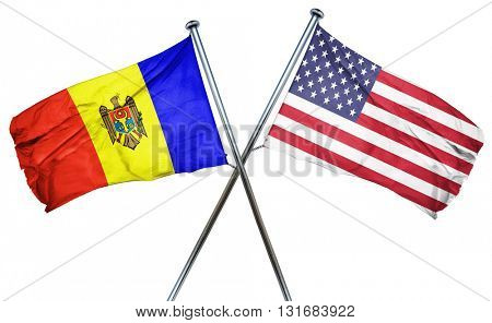 Moldova flag with american flag, isolated on white background