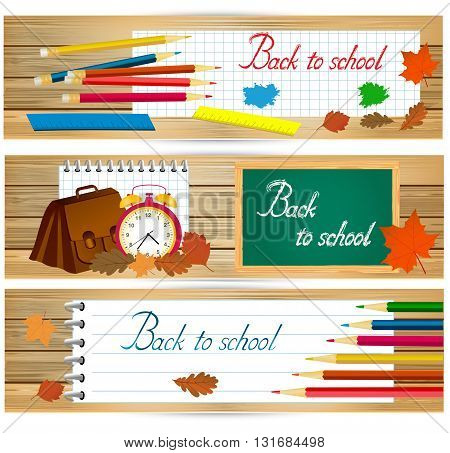 Horizontal back to school banners with school tools and autumn leaves on wood surface. vector illustration.
