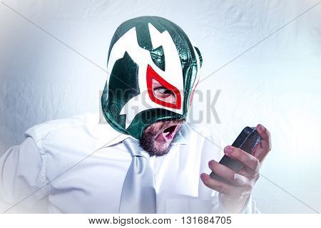 Job, angry businessman with Mexican wrestler mask, expressions of anger and rage