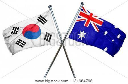 South korea flag  combined with australian flag