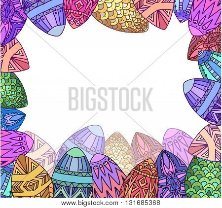 Greeting card with colorfull doodle festive eggs with boho pattern and place for text. Vector element for invitations, brochures, greeting cards, and your design