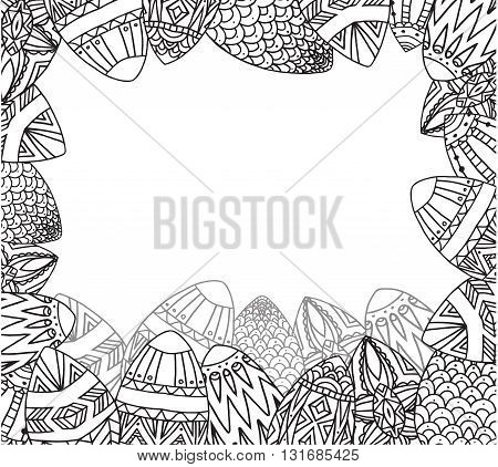Greeting card with doodle festive eggs with boho pattern and place for text. Vector element for invitations, brochures, greeting cards, and your design