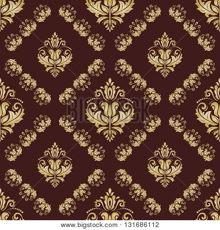 Seamless oriental ornament in the style of baroque. Traditional classic vector pattern. Brown and golden pattern