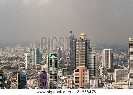 Bird's eye view of Bangkok city. Top view Bangkok city. Building in Bangkok city. Cityscape Thailand.