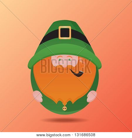 Illustration of Leprechaun with a pipe on St. Patrick's Day. Vector element for your creativity
