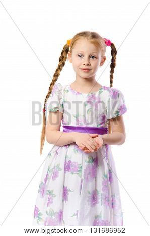 beautiful girl with pigtails on white background