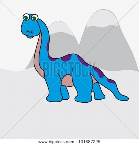 The image of a big colorful dinosaur. The background is made in a simple grey color. Vector illustration.