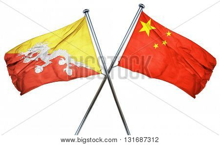 Bhutan flag  combined with china flag