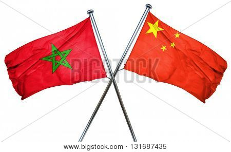Morocco flag  combined with china flag
