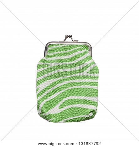 The green purse isolated on white background