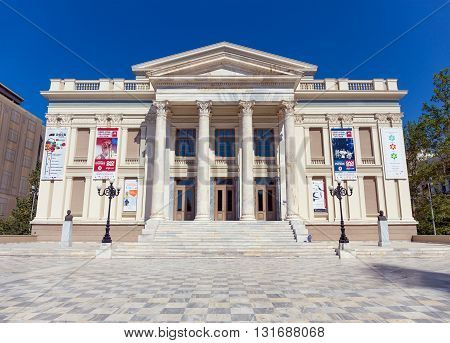 PIRAEUS, GREECE - MAY 26: The Piraeus Municipal Theatre on May 26, 2016 in Piraeus, Greece. Piraeus Municipal Theatre is a neoclassical building, opened on 9 April 1895 and has a 600 seat capacity.