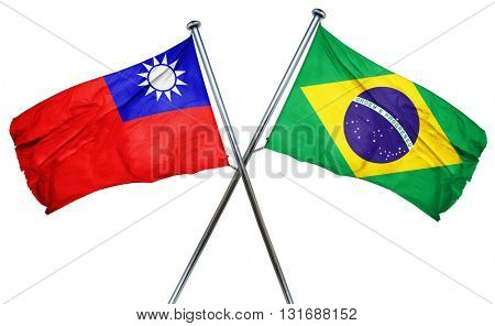 Republic of china flag  combined with brazil flag