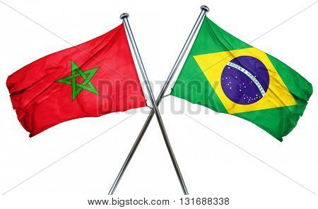 Morocco flag  combined with brazil flag