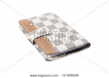 The brown leather notebook on white background