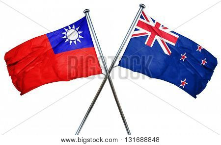 Republic of china flag  combined with new zealand flag