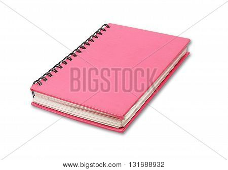The Red notebook isolate on white background.