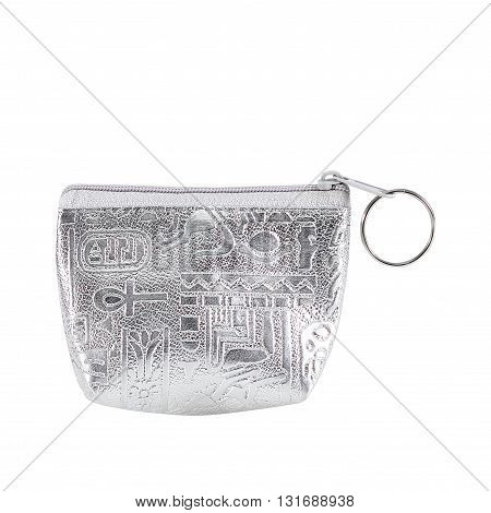 silver coin purse with zip isolated on white background