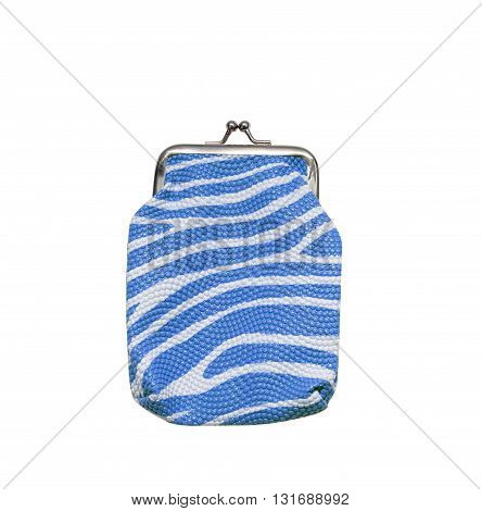 The blue purse isolated on white background.