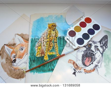 I have drawn on sheets of paper animal drawings using watercolors and brushes.