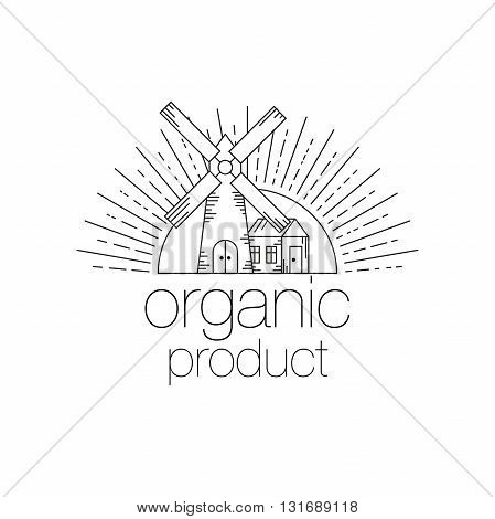 Organic product icon design. Mill, sun, farmhouse and inscription organic product for food boxes. Line Art Vector illustration isolated on wight background