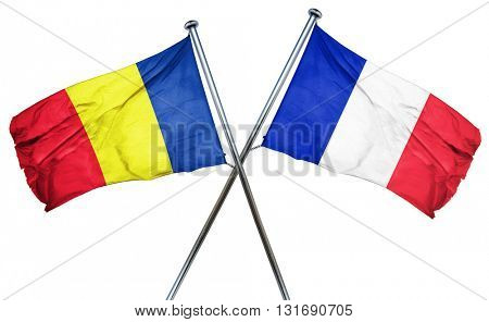 Romania flag  combined with france flag