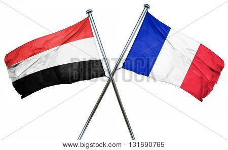 Yemen flag  combined with france flag