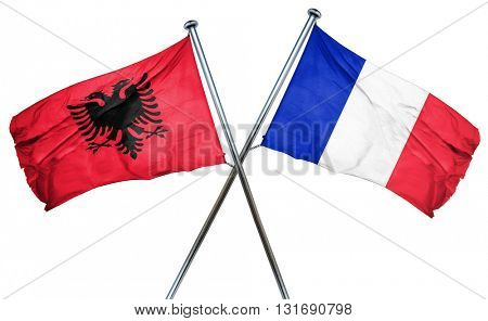 Albania flag  combined with france flag