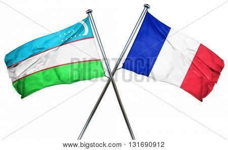 Uzbekistan flag  combined with france flag
