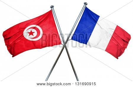 Tunesia flag  combined with france flag