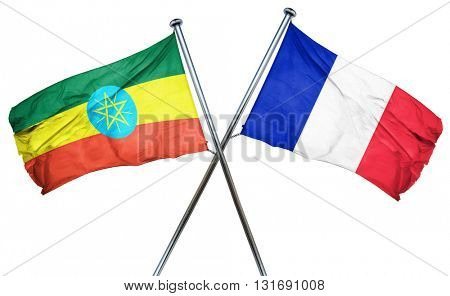 Ethiopia flag  combined with france flag