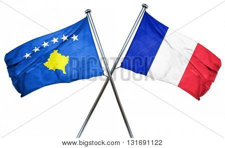 Kosovo flag  combined with france flag