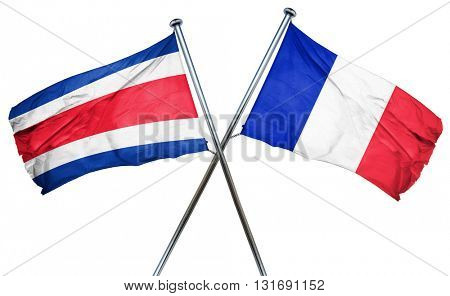 Costa Rica flag  combined with france flag
