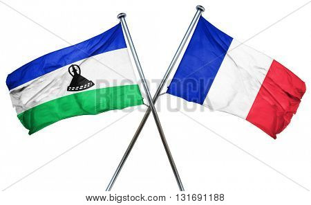 Lesotho flag  combined with france flag