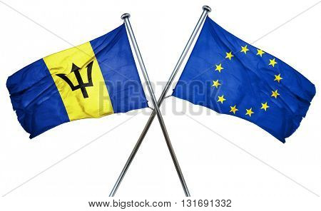 Barbados flag  combined with european union flag
