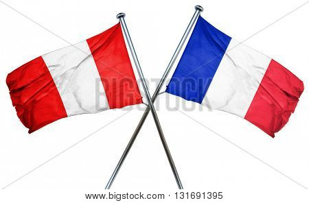Peru flag  combined with france flag