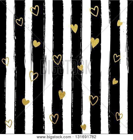 Glitter gold striped  with hearts wallpaper. Paint brush strokes background. Black and white calligraphy stripes. Golden heart shape pattern. Hipster trendy vector illustration.