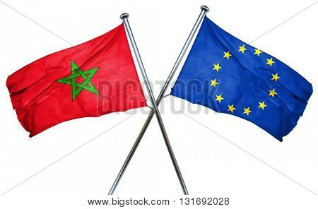 Morocco flag  combined with european union flag