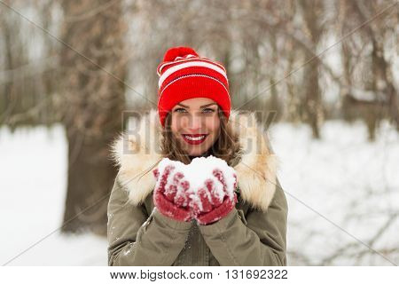 Beautiful Woman In The Winter Park