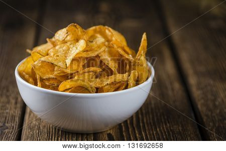 Portion Of Crispy Potato Chips (selective Focus)