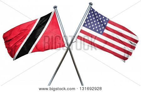 Trinidad and tobago flag with american flag, isolated on white b