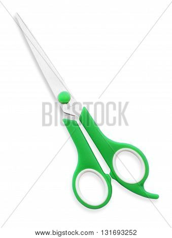Green scissors isolated on a white background