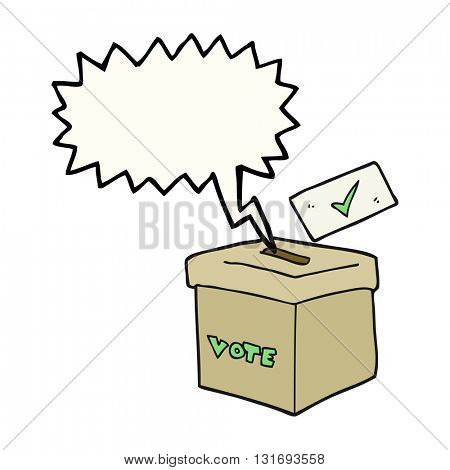 freehand drawn speech bubble cartoon ballot box