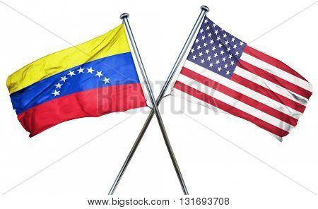 Venezuela flag with american flag, isolated on white background