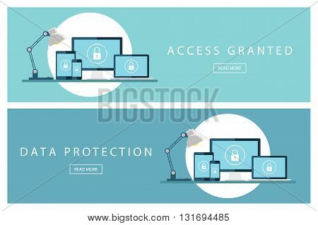 Set of flat design concepts Access granted and Data protection. Banners for web design, marketing and promotion. Presentation templates. Vector illustration.