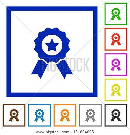 Set of color square framed award flat icons